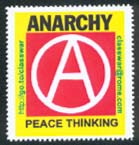 Class War's second anarchist stamp. Click to see a dozen pack.