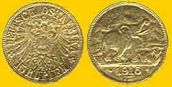 Gold coin minted in German East Africa in 1916, when the war caused short supplies from Europe.